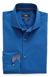 Boss Men's Big And Tall Slim Fit Easy Iron Solid Dress Shirt Blue