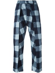 Sunnei Checked Trousers Blue