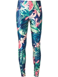 We Are Handsome 'Jungle Fever' Leggings Blue