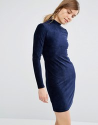 Vero Moda Corduroy High Neck Bodycon Dress Navy
