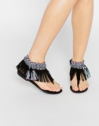 New Look Aztec Fringe Sandal Black