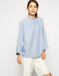 Asos Structured Jumper With Cape Sleeve And Turtle Neck Paleblue
