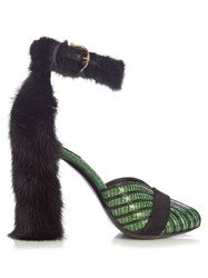 Salvatore Ferragamo Fata Reptile Effect Leather Sandals Black Green