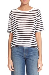 Women's T By Alexander Wang Stripe Rayon And Linen Tee
