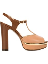 L'autre Chose Two Tone Platform Sandals Brown