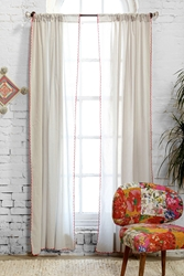 Plum And Bow Contrast Scallop Curtain Neutral
