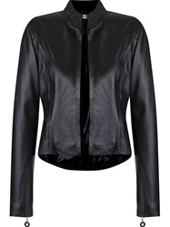 Martha Medeiros Open Front Leather Jacket Black