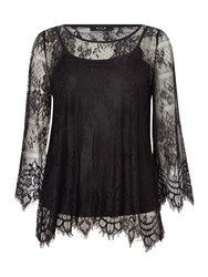 Vila 3 4 Sleeve Lace Top Black