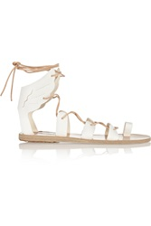 Ancient Greek Sandals Fteroti Leather Lace Up Sandals White