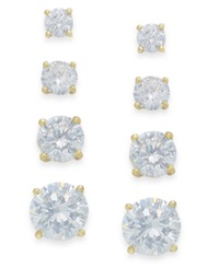 B. Brilliant Cubic Zirconia Stud Set In 18K Gold Over Sterling Silver Yellow Gold