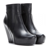 Rick Owens Classic Leather Wedge Ankle Boots