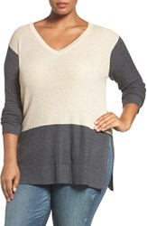 Vince Camuto Plus Size Women's Colorblock Waffle Stitch V Neck Sweater Mushroom Heather