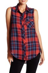 Abound Woven Chevron Plaid Tunic Red