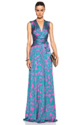 Issa Hazelle Silk Jersey Blend Printed Wrap Gown In Pink Green Abstract