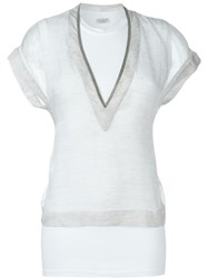 Brunello Cucinelli Beaded Trim Sheer T Shirt White