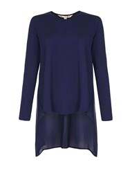 Yumi Plain Long Sleeve Top Navy
