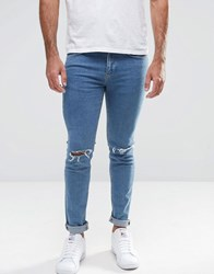 New Look Skinny Jeans With Knee Rips In Blue Blue