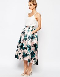Closet Pleated Satin Skirt In Floral Print Multi