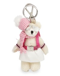 Prada Bear Backpack Charm White Pink Bianco