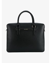 Dolce And Gabbana Mediterraneo Leather Laptop Bag Black Silver White