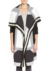 Trouve Patchwork Open Front Long Cardigan Black