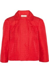 Tory Burch Landry Cotton Linen And Silk Blend Faille Jacket Red