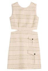 Msgm Metallic Stripe Dress With Cutouts Beige