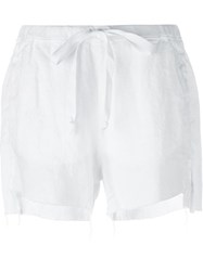 Lost And Found Rooms Uneven Raw Hem Shorts White