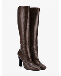 Saint Laurent Lily 95 Python Skin Tall Boots Brown Black