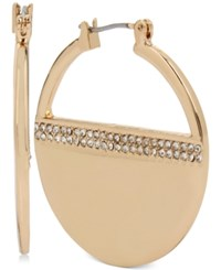 Kenneth Cole New York Pave Striped Hoop Earrings Gold