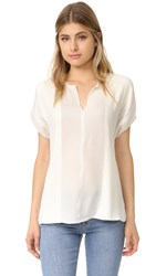 Vince Split Neck Pin Tuck Blouse Off White