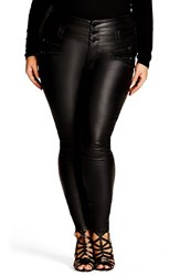 City Chic Plus Size Women's Coated Corset Skinny Jeans