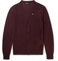 Alexander Mcqueen Distressed Wool And Silk Blend Cardigan Burgundy
