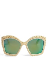 Gucci Oversized Square Frame Sunglasses Ivory