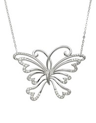 Lord And Taylor 14Kt. White Gold Diamond Butterfly Necklace