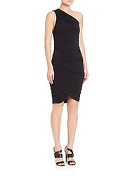 Alice Olivia Deedee Ruched One Shoulder Dress Black