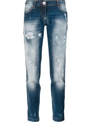 Philipp Plein Distressed Boyfriend Jeans Blue