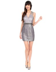 Phoebe Couture Metallic Mesh Inset Dress Grey Metallic