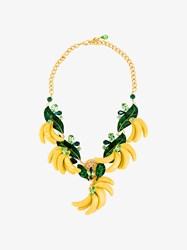 Dolce And Gabbana Crystal Embellished Banana Necklace Multi Coloured Copper White