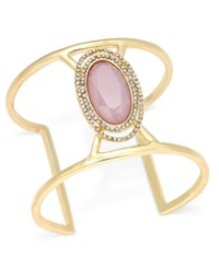 Inc International Concepts Gold Tone Pink Stone And Crystal Open Cuff Bracelet Only At Macy's