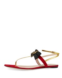 Gucci Moody Bow Flat Thong Sandal Red Oro