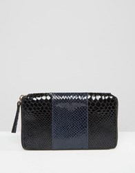 Urbancode Colour Block Leather Purse With Faux Snake Panel Ny1 Navy 1