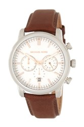 Michael Michael Kors Men's Pennant Leather Strap Watch Brown