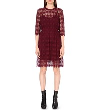 Moandco. A Line Geometric Lace Dress Rhododendron