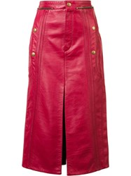 Chloe Leather Biker Skirt Red
