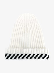 Off White Wool Cashmere Blend Diagonal Stripe Beanie Black White Off White