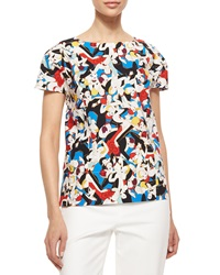 Carolina Herrera Tango Dancer Print Poplin Top