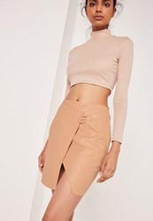 Missguided Asymmetric Stitch Detail Faux Leather Mini Skirt Camel Beige