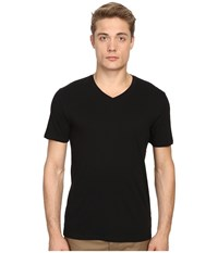 Vince Short Sleeve Pima Cotton V Neck Shirt Black Men's Short Sleeve Pullover