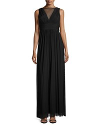 Marina Shirtted V Neck Sleeveless Gown Black